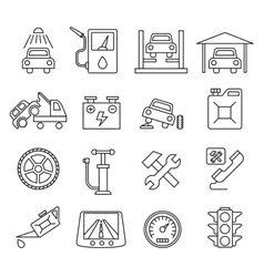 Black auto icons set vector