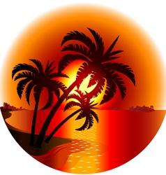 Sunset on a tropical island vector