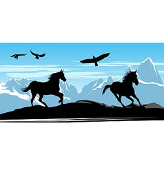 Horses on snow mountains vector