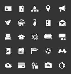 Contact connection icons on gray background vector