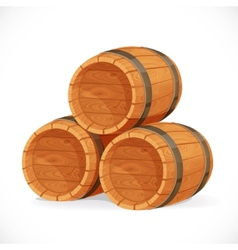 Wooden barrels isolated on white background vector