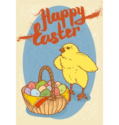 Happy easter postcard vector