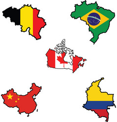Flag in map of belgiumbrazilcanadachinacolombi vector