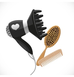 Hair dryer with diffuser and combs vector