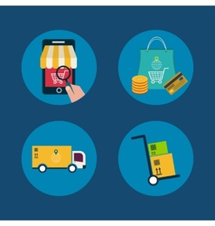 Icons of e-commerce symbols and internet shopping vector
