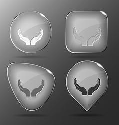 Human hands glass buttons vector