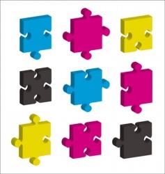 Jigsaw pieces cmyk vector