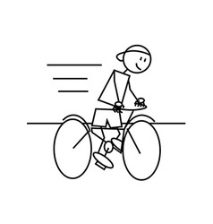 Stick figure cycling vector