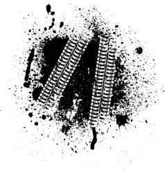 Ink blots and tire track vector