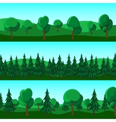 Horizontal cartoon banners of hills and trees vector