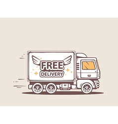 Truck free and fast delivery of goods to vector