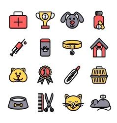 Veterinary icon set vector
