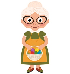 Grandmother with a basket of easter eggs vector