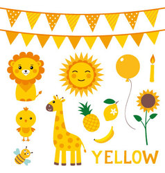 Elements in yellow color vector