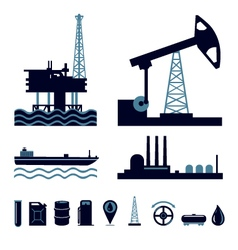 Oil industry icon set vector