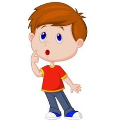 Cute boy cartoon thinking vector