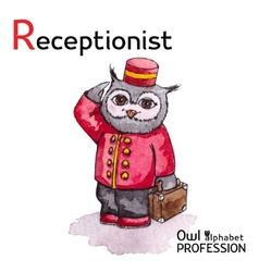 Alphabet professions owl letter r - receptionist vector