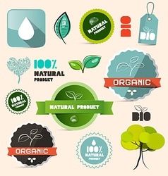 Organic natural product retro labels - tags - vector
