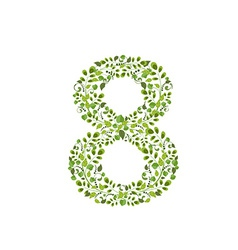 Spring green leaves eco number 8 vector