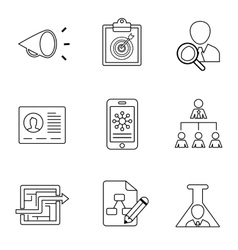 Dissemination of information marketing icons flat vector