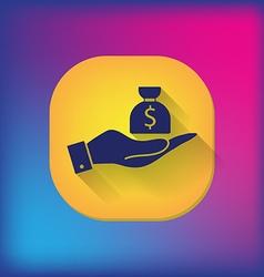 Hands holding bag of money vector