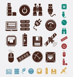 Set of hosting icons vector