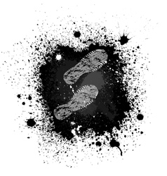 Ink blots footprint vector