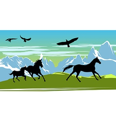 Horses background vector