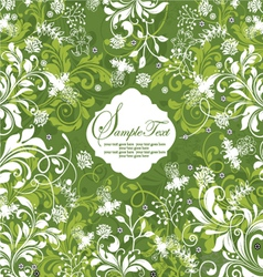 Green floral invitation card vector