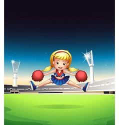 A little cheerleader in the field vector
