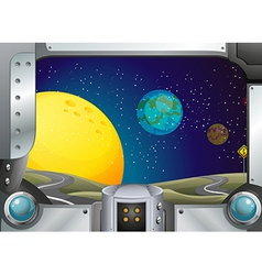 A metal frame with a view of the outerspace vector