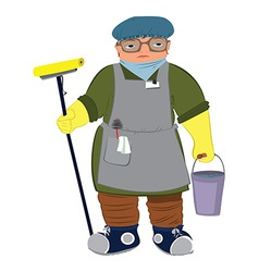 Cartoon woman in yellow gloves with floor mop vector