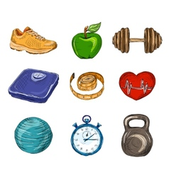 Fitness colored sketch icons vector