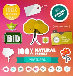 Bio - 100 natural labels set on blurred background vector