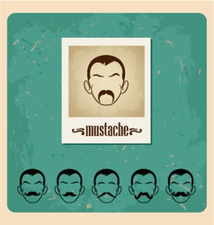 Set of faces with mustaches vector