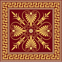 Vintage golden square greek ornament meander vector