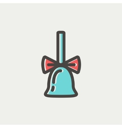 School bell with ribbon thin line icon vector