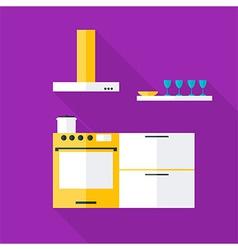 Flat stylized kitchen vector