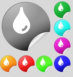 Water drop icon sign set of eight multi-colored vector