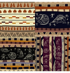 Set of tribal painting vector