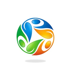 Circular people ecology leaf logo vector