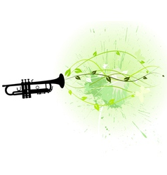 Trumpet with floral vector