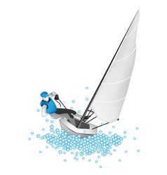 A small sail boat blasting through a wave vector