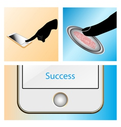 Fingerprint scan touch mobile vector