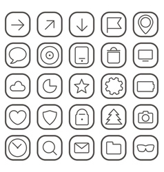 Modern thin web icons collection isolated on white vector