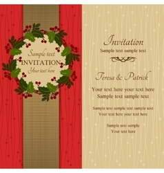 Christmas invitation red and beige vector
