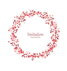 Invitation card with floral wreath for your design vector
