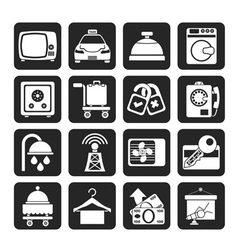 Silhouette hotel and motel room facilities icons vector