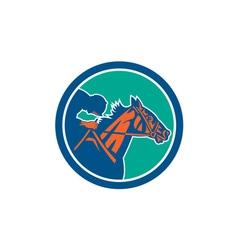 Horse jockey racing circle retro vector