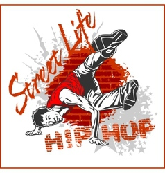 Hip hop dancer on white background vector